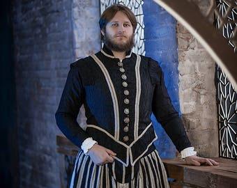 Dark king fantasy costume, renaissance men's gown, fairytale inspiration costume,  vampire costume, fantasy wedding