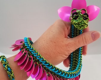 Chainmaille Dragon, Green Dragon, Chainmail Sculpture, Chain Mail Animal