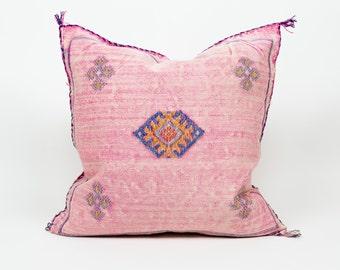 """Authentic 20"""" Moroccan Cactus Silk Pillow   Sabra Pillow   Decorative Pink Throw Pillow"""