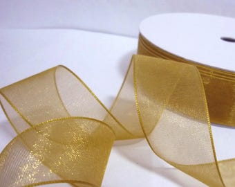 "50yd /45 mtrs 1 roll Golden Brown Sheer Organza Ribbon 3/8"" , 1/2"" , 5/8""  3/4""  1"" / 10mm, 13mm ,16mm , 19mm, 25mm - Decoration ribbon O27"