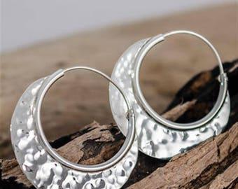 Contemporary Hammered Crescent Moon Sterling Silver Hoop Earrings, Textured Earrings, Large Hoops, Unusual Hoop Earrings, Geometric Earrings