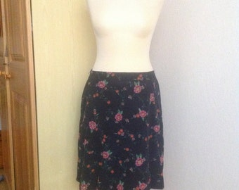 Dark Blue Tiny Flower Corduroy Skirt Floral Knee Length Skirt A Line Low Waist Medium