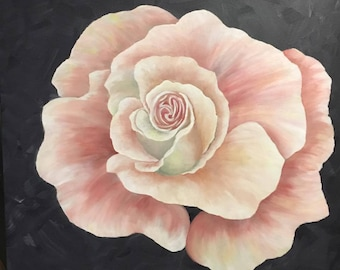 First Blush, Acrylic, Canvas, Original Art, Painting, Rose