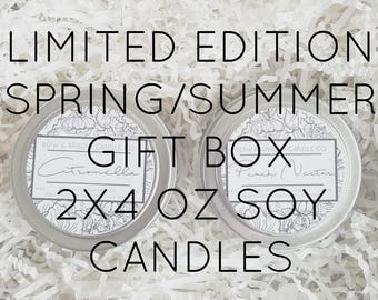 Pick Two 4 oz Spring & Summer Soy Candle Tins Gift Box   Bulk Soy Candles   Scented Soy Candles   Candle Gift Set   Gift Idea   Soy Candles