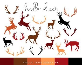 Halloween Deer & Antler Silhouette Clip Art | Hunter Season | - Vector Clipart