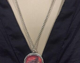 Silver Antique Porcupine Pendant Necklace/ Long silver pendant necklace vintage style with porcupine / Unique Pendant Porcupine Necklace