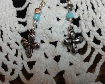 Dainty cross earrings with Robin egg blue and silver beads