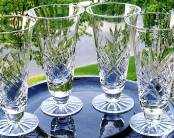 Set of 4 Vintage Crystal Ice Tea or Juice Glasses-Cone Shaped-Wafer Base-Rays-MINT
