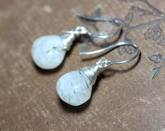 Tourmalinated Quartz Earrings Rustic Jewelry Gold or Silver Wire Wrapped Black and White Earrings