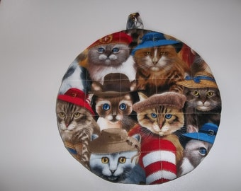 Quilted Pot Holders, Cats in Hat, Potholders, Hot Pad, Trivet, Round, Handmade, 9 Inches, Kitchen Decor, Double Insulated, Hostess Gift