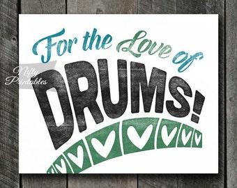 Drums Print - INSTANT DOWNLOAD Drumming Art - Vintage Drums Poster - Drums Wall Art - Drummer Gifts - Retro Drummer Music Decor
