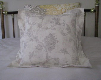 """Throw Pillow Cover, 18"""" Cotton Flanged Pillow Cover, Home Decor Pillow Cover. Waverly gray and white print"""