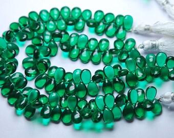 7 Inch Strand,Chrome Green Quartz Smooth Pear Shape Briolette, Size 7X10 mm