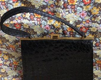 Vintage 40's black patent leather alligator print Riviera bag