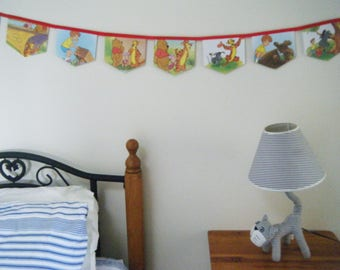 Bunting - Walt Disney Winnie the Pooh Eeyore, Be Happy! Up-cycled Little Golden Book Children's Bedroom/Themed Party Bunting