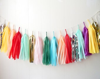 Free Shipping - Tassel Garland - Clashy Party Decor - Bridal Shower - Nursery Decor - Photo Prop