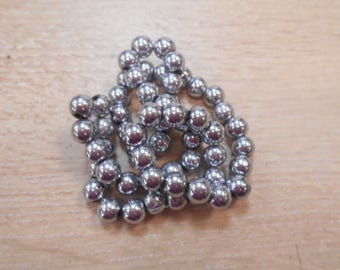 silver plated 8 mm hematite wire