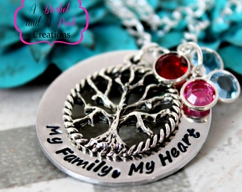 Custom Hand stamped Tree of Life Necklace with birthstones
