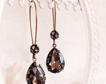 Black Drop Earrings - Charcoal - Teardrop Earrings - Modern - Jewelry Gift - COVET Black Diamond