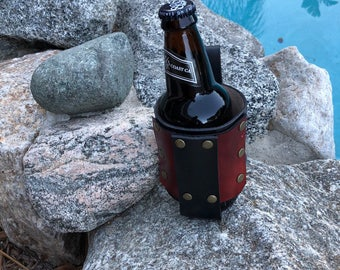 Leather beer holder, beverage holster, water bottle holder, steampunk beer holder, beer lover gift, beer gift,,