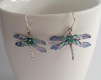 Stained Glass Dragonfly Earrings Libelula Azul, Emerald Earrings, Sterling Silver Earrings, Stained Glass Earrings, Blue Earrings, Gift Idea