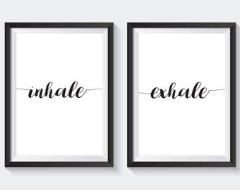 Inhale - Exhale. A4 bedroom prints x 2