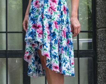 Linen clothing. Linen summer skirt. Linen asymmetric skirt. Skirt flowers. Handmade skirt. Womens Elastic Waist Skirt. Womens linen skirt.