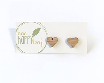 Love heart studs - small earring studs - eco friendly laser cut wooden earrings - wood studs