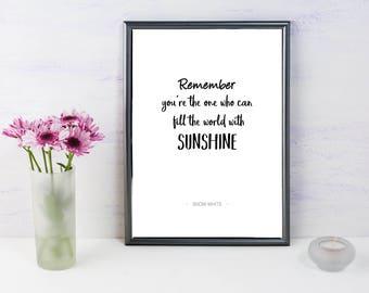 Snow White Print, A4 Print, Sunshine, Disney