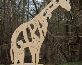 Giraffe  ornament, zoo gift, zoo ornament, giraffe gift, wooden giraffe, giraffe decor, wildlife gift, giraffe lover gift, giraffe jigsaw