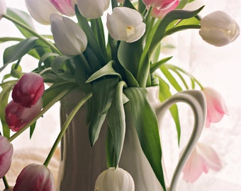 Tulip Bouquet in White Vase Pink and White Fine Art Photography Archival Print