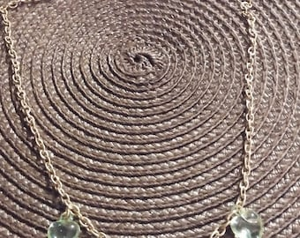 Gold Necklace with Green Hearts