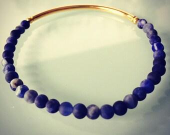 Matte blue sodalite and gold Bar 'n' Bead bracelet