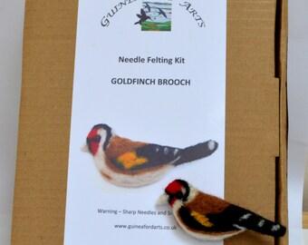 Needle Felting Kit Goldfinch Bird Brooch