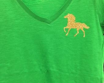 Sparkle horse vneck shirt