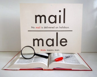 Vintage Giant Mail Male Sea See Word Flashcard | Double Sided 11x14 Homonym Poster Flash Card
