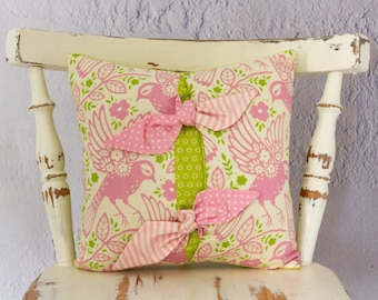 Pale Pink and Green Cushion, Square Cushion, Bird Pattern, Decorative Cushion, Heather Bailey Fabric, Child's Room, Nursery Cushion