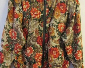 Vintage 100% Silk Bomber Jacket * Flower Power * 1980s * 1990s * Retro * Hipster