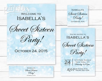 Quinceanera invitations sweet 16 invitations red rose and sweet sixteen party favors blue sparkle sweet 16 party decorations bokeh diy sweet sixteen invitation set printable quinceanera invites solutioingenieria