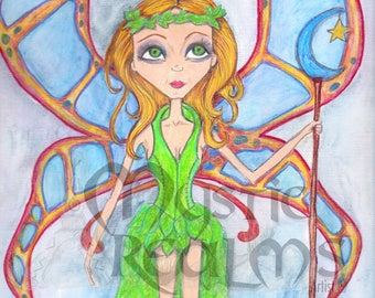 Butterfly fairy, Fantasy art, Fairy art print, faerie artwork, big eyed girl, print, blue green and red, nursery room art