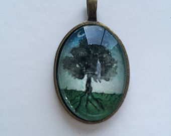 Tree watercolour pendant