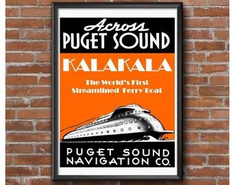 Kalakala Ferry Boat 1935 Poster-Seattle Washington Puget Sound Art Deco Ship