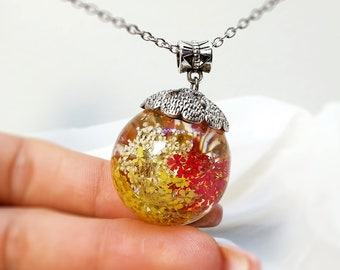 Queen Anne's Lace Resin Pendant - Resin Sphere Necklace - Real Dried Flowers In Sphere - Botanical Jewelry - Pressed Flower Jewelry