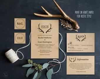 Wedding Invitation Template, DIY Printable Wedding Invitation Set, Kraft Wedding Invitation, Rustic Antler, VW22