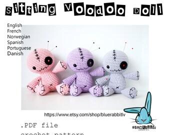 Sitting Voodoo Doll. Pincushion. Amigurumi crochet pattern. Languages: English, Danish, French, Norwegian, Spanish, Portuguese.
