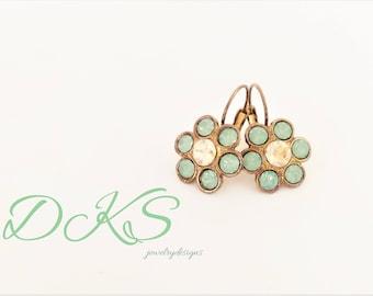 Rustic Elegance, Swarovski Flower Lever Back Earrings, 12mm, Shiny Bronze, Mint Green, Golden Shadow, DKSJewelrydesigns, FREE SHIPPING