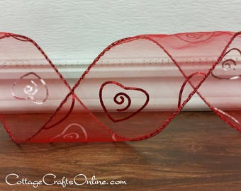 "Valentine Wired Ribbon, 2 1/2"", Red Metallic Foil Hearts, Red Sheer - THREE YARDS - ""Forever More 40"" Valentine's Day Wire Edged Ribbon"