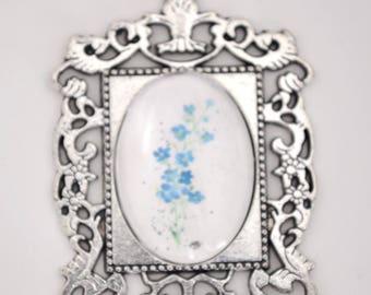 Flower Art Pendant, Watercolor Flower Pendant, Glass Pendant, Art Jewelry Pendant, Art Necklace, Forget Me Not Necklace, Wearable Art