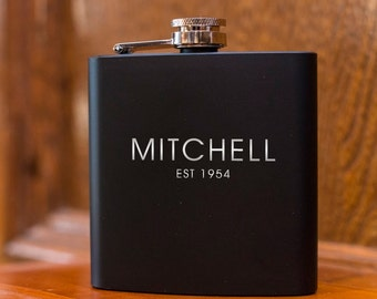 Laser Etched Flask - Name Flask - Groomsman Gift - Wedding Party Gift - Best Man Gift - Black Flask - Gift Flask - Birthday Flask