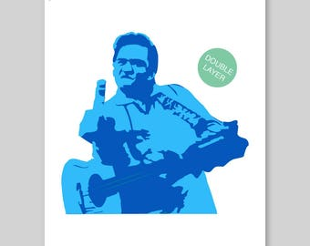 Johnny Cash Stencil A3 42 x 29,7 cm // 16,5 x 11,7 inch // 2-Layers